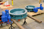 42 inch AWWA valves with Limitorque L120 electric actuators for a water process intake system.